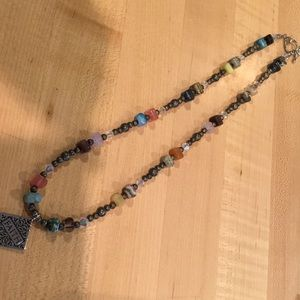 """20"""" multi colored stones and silver necklace"""